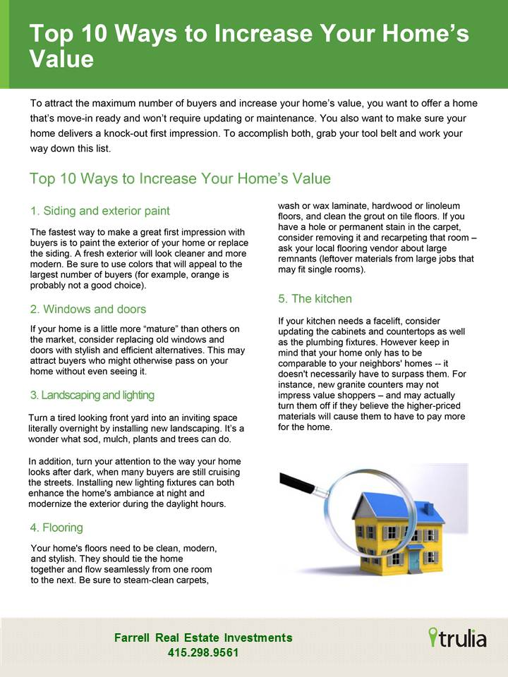 10 ways to increase your home value san francisco real for Increase value of home