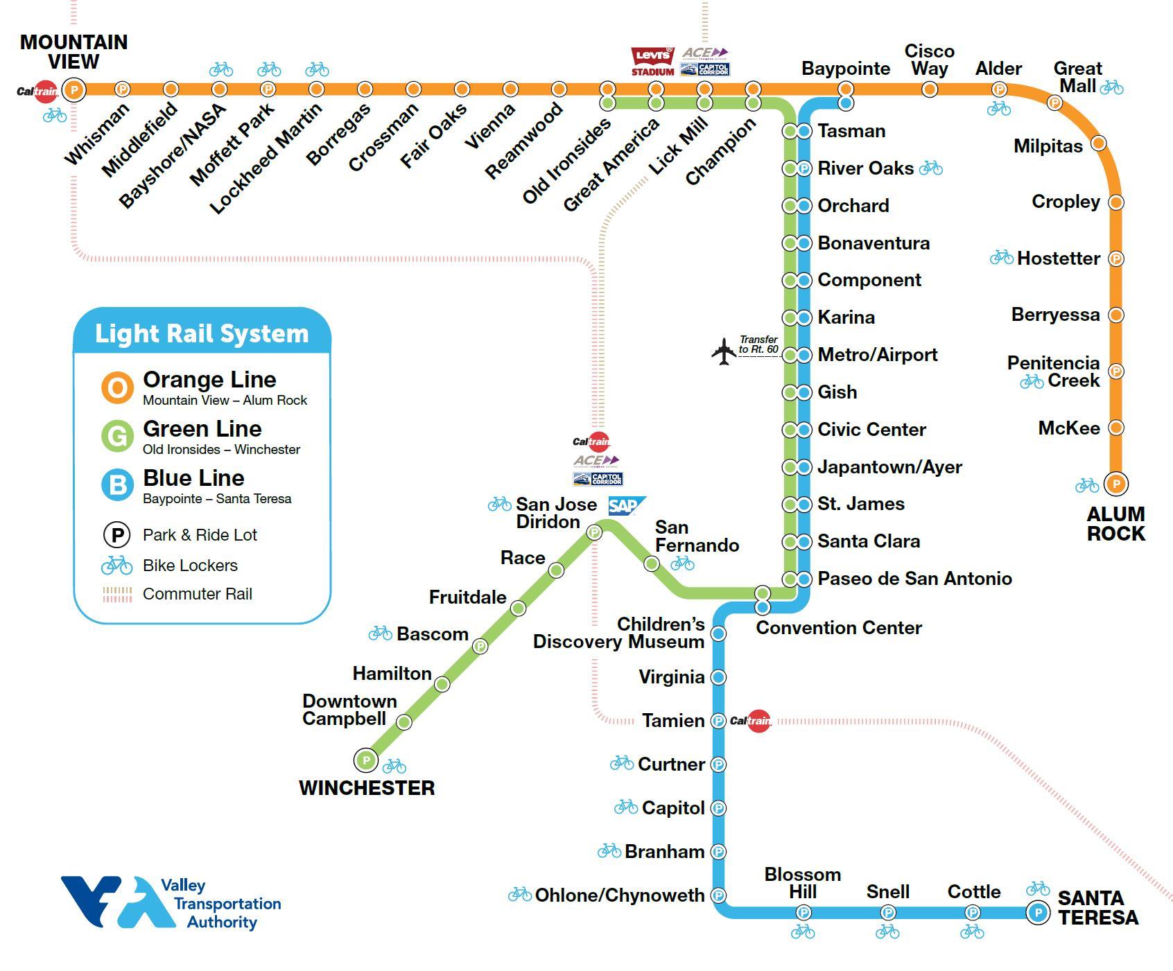 MAP VTA Valley Transporation Authority Light Rail